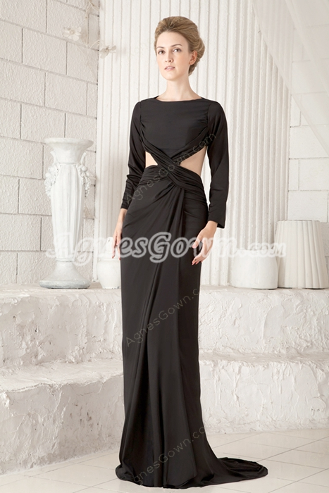 Sexy Long Sleeves Open Back Mother Of The Bride Dress