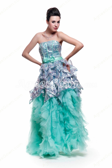 Fashionable Silver And Aqua Puffy Quinceanera Dress