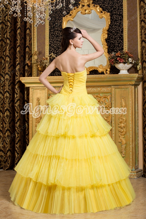 Strapless Ball Gown Yellow Organza Quinceanera Dress With Black Appliques