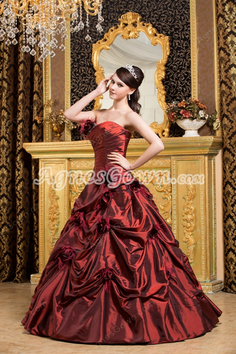 Sweetheart Ball Gown Burgundy Taffeta Sweet 15 Dress With Feathers