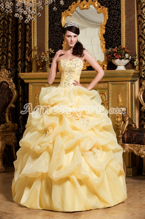 Beautiful Sweetheart Ball Gown Daffodil Organza Vestidos de Quinceanera Dress