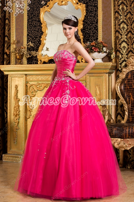 Best Strapless Ball Gown Hot Pink Tulle Sweet 15 Dress With Diamonds