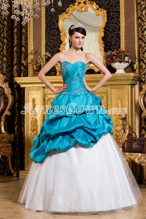 Pretty Sweetheart Blue And White Sweet 15 Dress