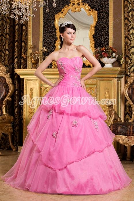 Beautiful Sweetheart Pink Organza Ball Gown Sweet 15 Dress With Short Sleeves Bolero