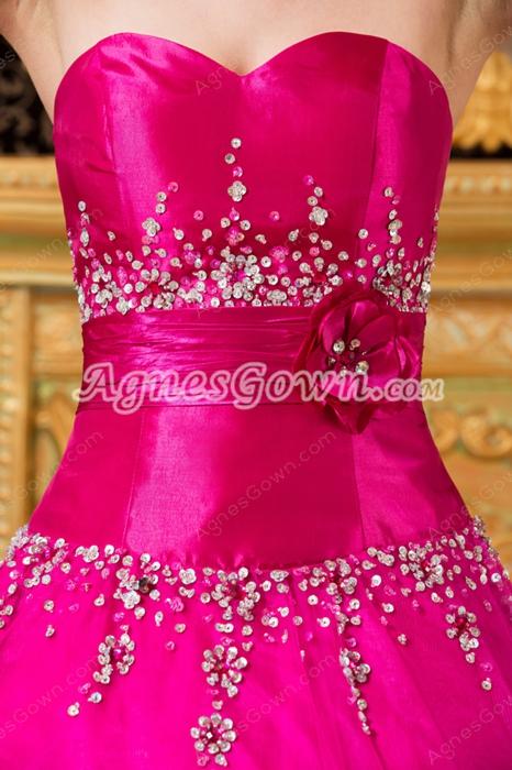 Classy Sweetheart Ball Gown Fuchsia Sweet 15 Dress Corset Back