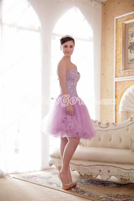 Cute Mini Length Sweetheart Lilac Tulle Sweet Sixteen Dress With Beads
