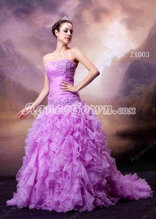 Strapless Puffy Multi Organza Lilac Quinceanera Dress