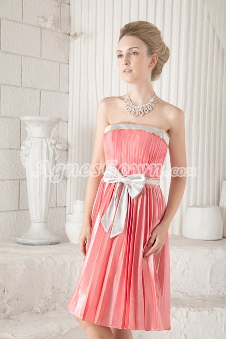 Lovely Knee Length Peach Colored Prom Dress
