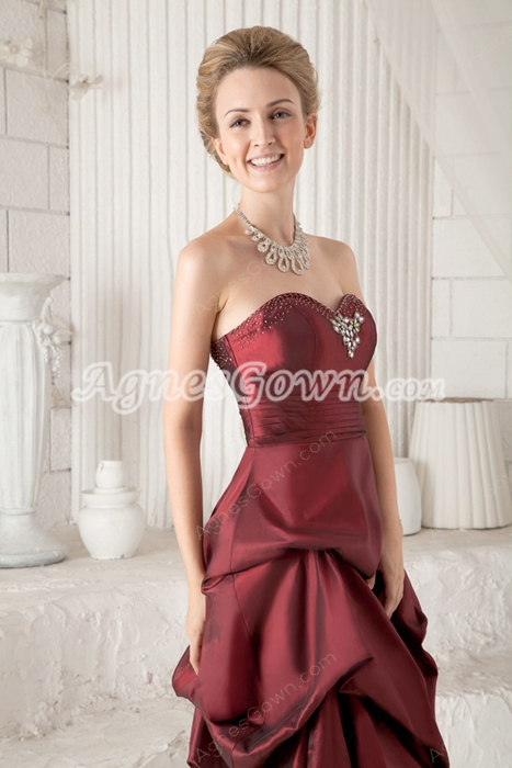 Modest Knee Length Puffy Burgundy Mother Of The Groom Dress