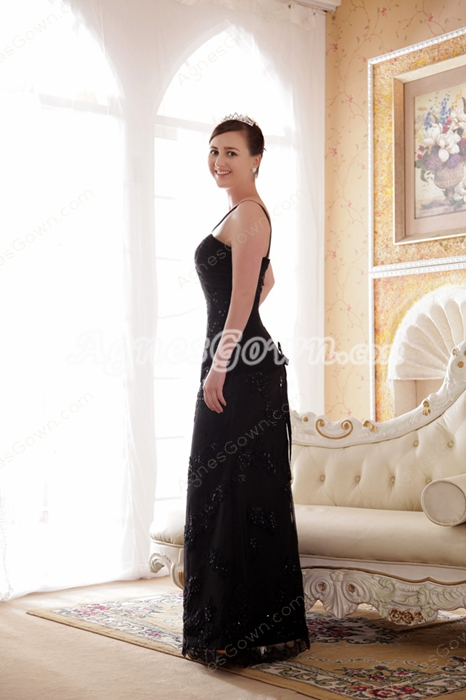 Glamour Spaghetti Straps Sheath Black Lace Mother Of The Bride Dress With Jacket