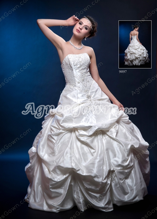Classy Strapless Ivory Taffeta Ball Gown Quinceanera Dress With Exquisite Beads