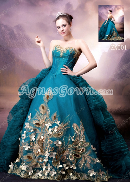 2016 Special Sweetheart Ball Gown Teal Quinceanera Dress With Gold Feather