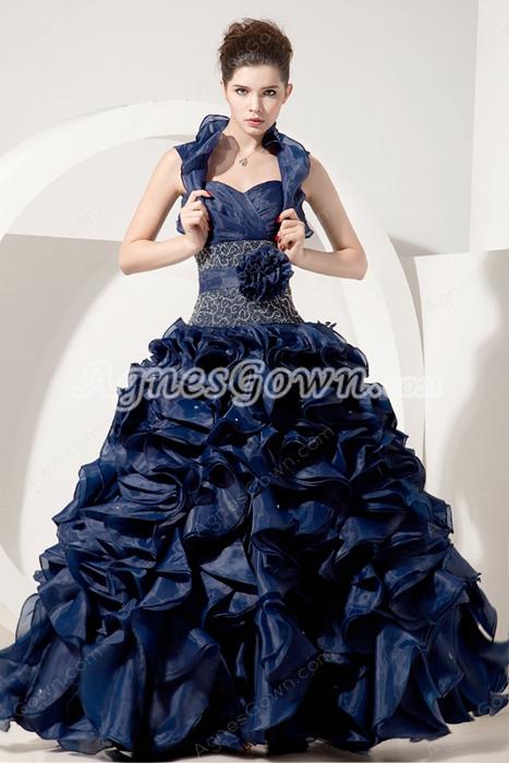 Dark Navy Organza Ball Gown Sweet 15 Dress With Multi Ruffles
