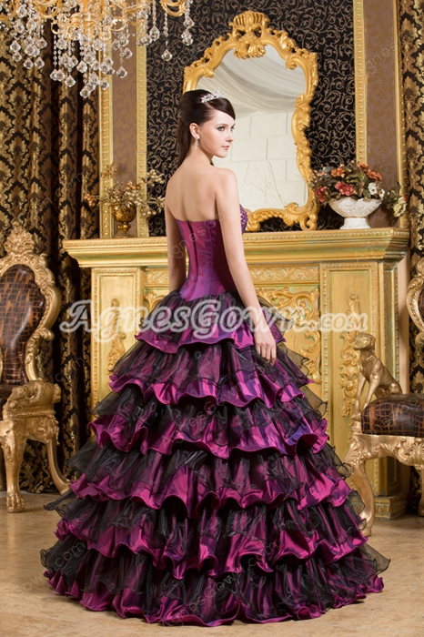 Vintage Maroon And Black Ball Gown Quinceanera Dress 2016