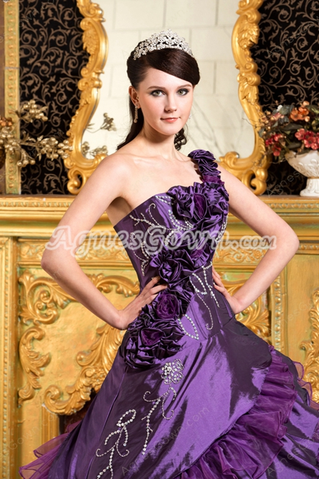 Charming One Shoulder Ball Gown Taffeta And Organza Quinceanera Dress