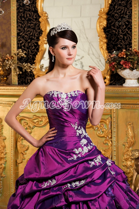 Gorgeous Purple Satin And Organza Ball Gown Quinceanera Dress 2016