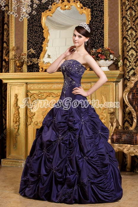 modest Strapless Royal Purple Taffeta Sweet XV Dress With Embroidery