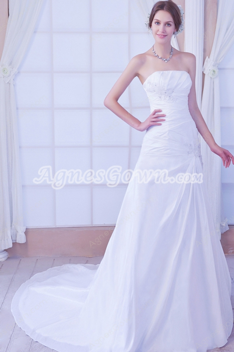 Cheap Strapless A-line Simple Satin Wedding Dress