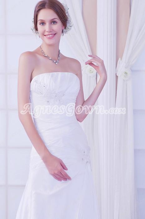 Cheap Strapless A-line Simple Satin Wedding Dress