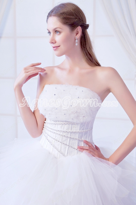 Dazzling Strapless White Tulle Puffy Wedding Dress With Multi Layered