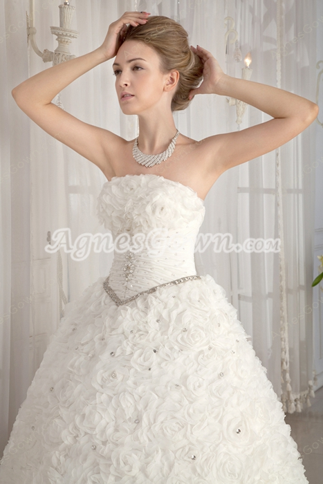 2016 Basque Waist Strapless Ball Gown Floral Wedding Dress Corset Back