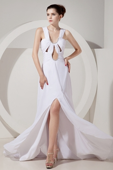 Special Scoop Neckline White Chiffon Summer Wedding Dress Cut Out Bodice