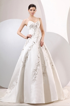 Spaghetti Straps A-line Embroidery Satin Wedding Dress 2016