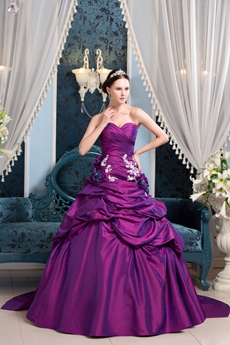 Exclusive Sweetheart Ball Gown Full Length Purple Taffeta Quinceanera Dress Corset Back