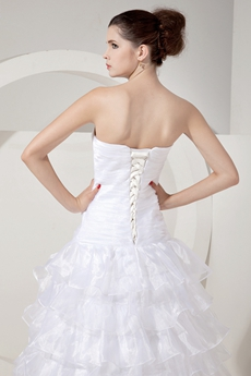 Classy Sweetheart White Organza Ruffled Wedding Dress Dropped Waist