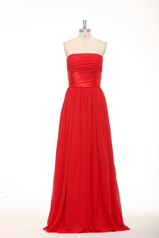 Simple Strapless Red Chiffon Bridesmaid Dress