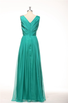 V-Neckline Straight Full Length Teal Colored Bridesmaid Dress