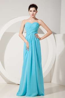 Pretty Straight Full Length Blue Chiffon Bridesmaid Dress