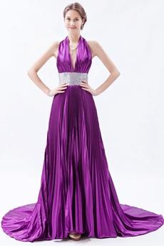 Sexy Halter A-line Purple Backless Evening Dress