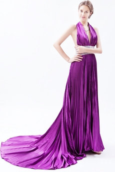 Sexy Halter A-line Purple Backless Evening Dress