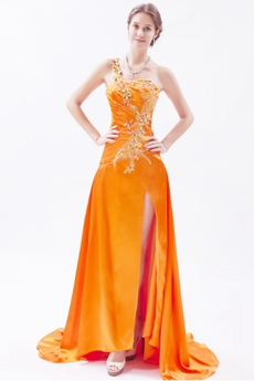 Wonderful One Straps Burnt Orange Celebrity Evening Dress High Slit