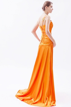 Wonderful One Straps Burnt Orange Celebrity Evening Dress High Slit