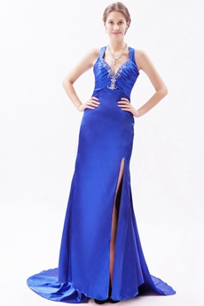 Sexy Royal Blue Satin Celebrity Evening Dress