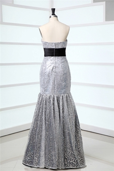 Stunning Silver and Black Sequined Mermaid Celebrity Dresses
