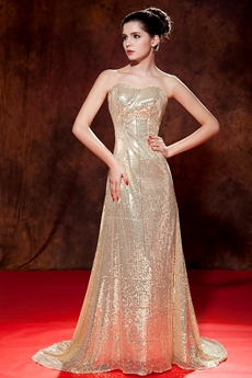 Gorgeous Sweetheart A-line Gold Sequined Prom Dress