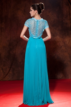 Cap Sleeves Illusion Back Full Length Turquoise Formal Evening Dress