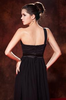 Modest One Shoulder A-line Black Chiffon Prom Dress