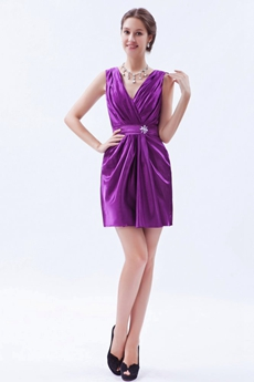 V-Neckline Short Length Plum Colored Nightclub Dress