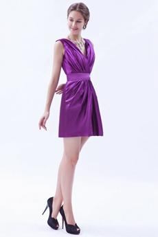 V-Neckline Short Length Plum Colored Nightclub Dress