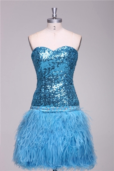 Sequin & Feather Blue Cocktail Dress