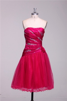 Dipped Neckline Short Length Tulle Fuchsia Damas Dress