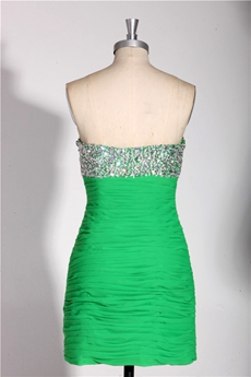 Sexy Sheath Mini Length Green Cocktail Dress With Heavy Handwork