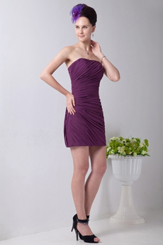 Fitted Mini Length Grape Chiffon Pleated Cocktail Dress