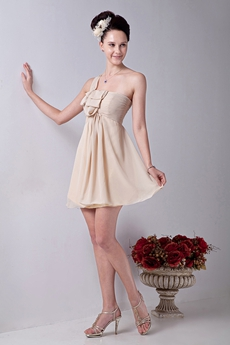 Slinky One Shoulder A-line Mini Length Champagne Cocktail Dress