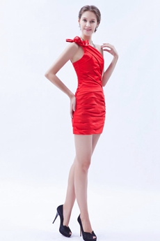 Sheath Mini Length One Straps Red Cocktail Gown