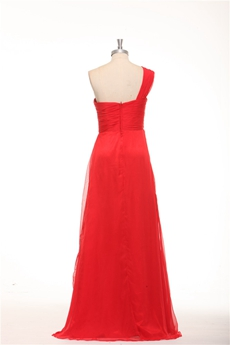 One Shoulder Empire Red Chiffon Maternity Evening Dress